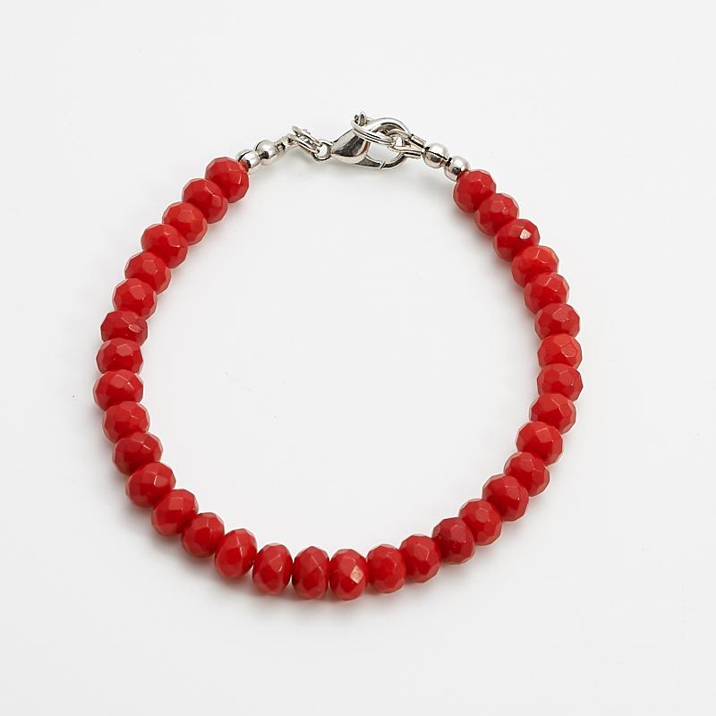 Браслет коралл красный  огранка 6 мм 17 cм бусина коралл красный сплюснутый шар 5 5 6 мм огранка 1 шт