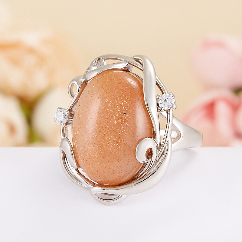 Кольцо солнечный камень Индия (серебро 925 пр.) размер 16,5