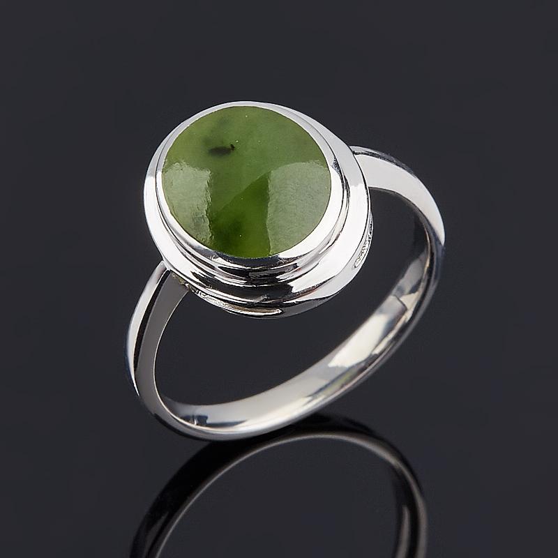 Кольцо нефрит зеленый Россия (серебро 925 пр.) размер 16