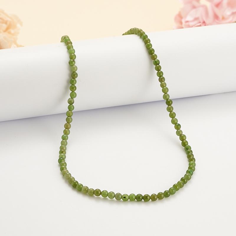 Бусы нефрит зеленый  4 мм 44 см