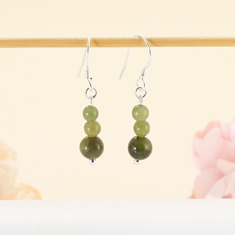 Серьги нефрит зеленый кабошон нефрит зеленый 12 16 мм
