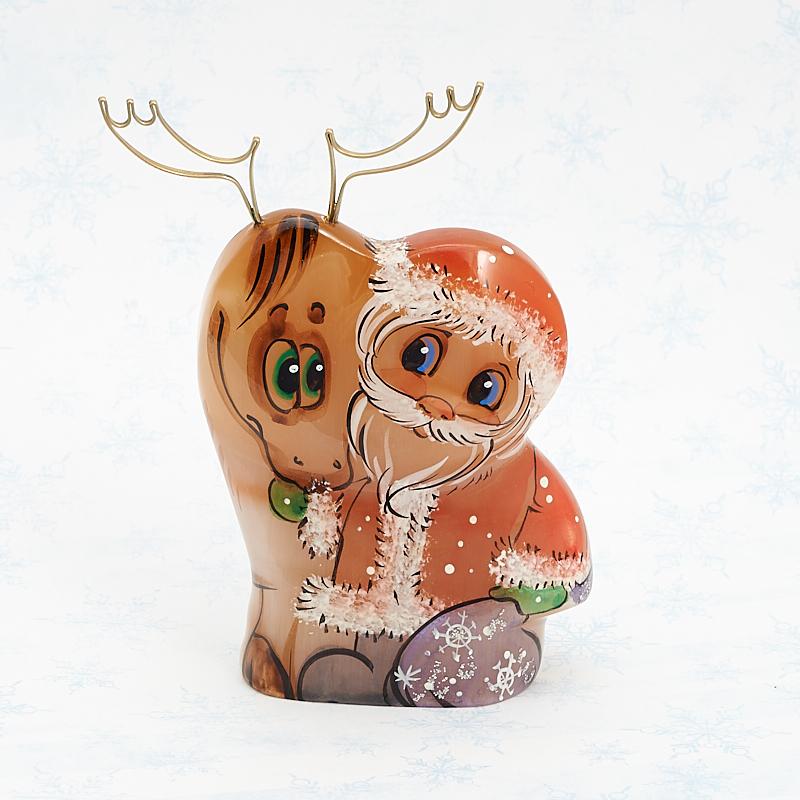 Дед Мороз с оленем селенит  10 см