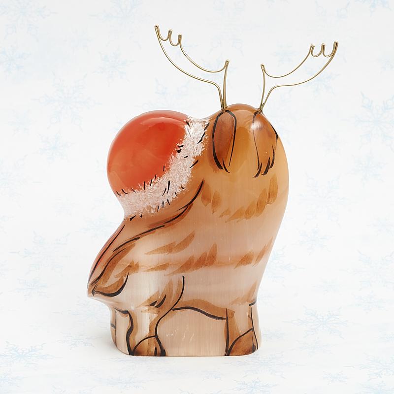 Дед Мороз с оленем селенит Россия 10 см