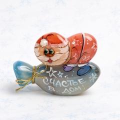 Дед Мороз на мешке селенит Россия 8 см