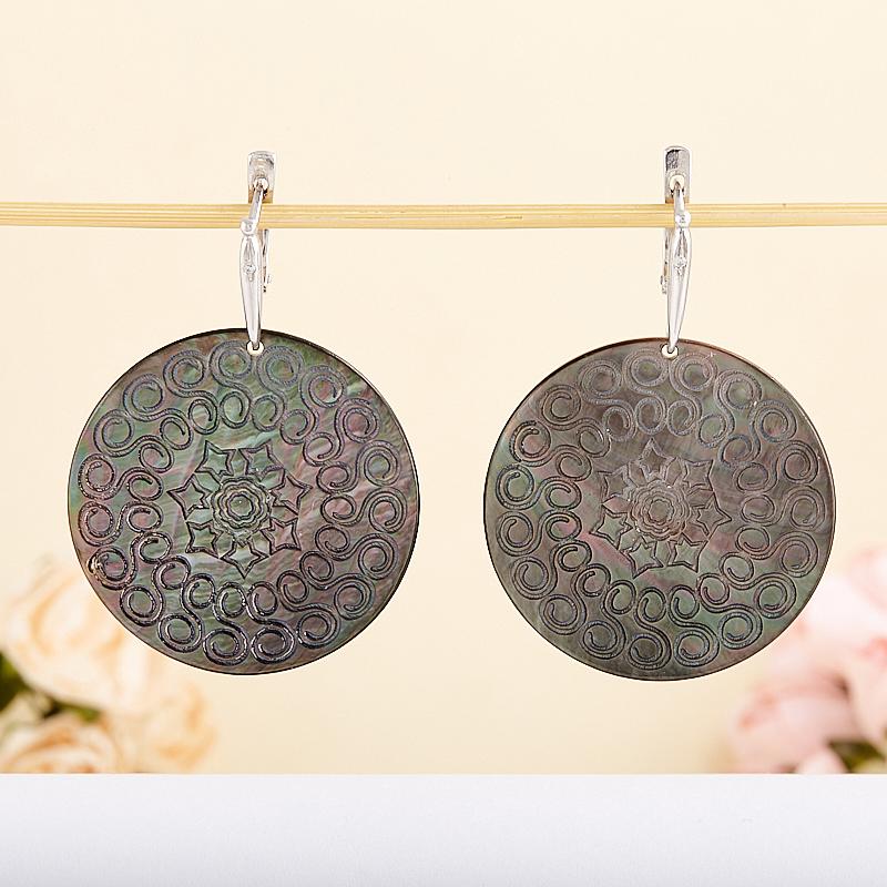 Серьги перламутр черный  (серебро 925 пр.) серьги агат серый серебро 925 пр