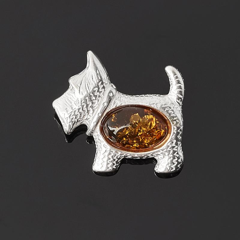 Брошь янтарь (латунь посеребр.) am 1011 фигурка колокольчик кошка с мороженым латунь янтарь