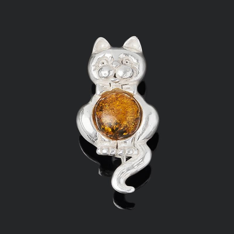 Брошь янтарь (латунь посеребр.) цена 2017