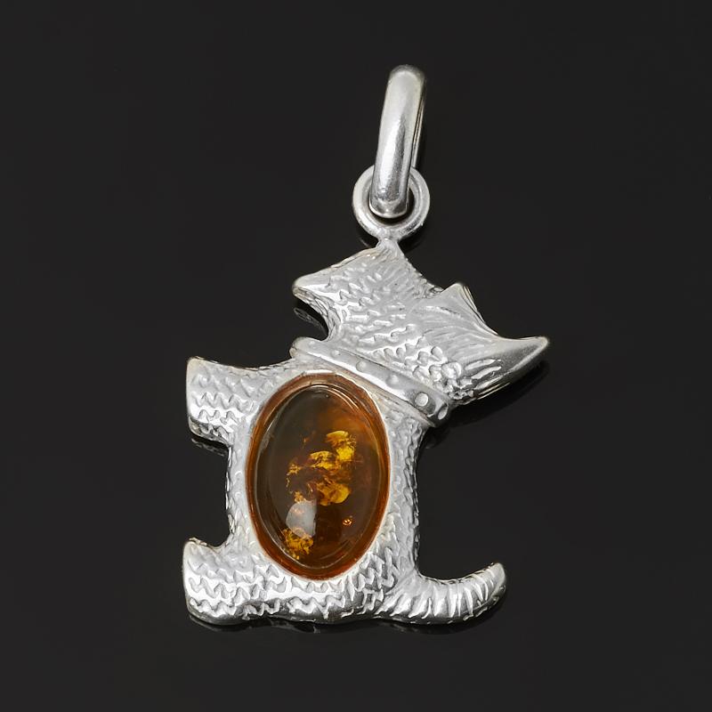 Кулон янтарь Россия (латунь посеребр.) 3,5 см