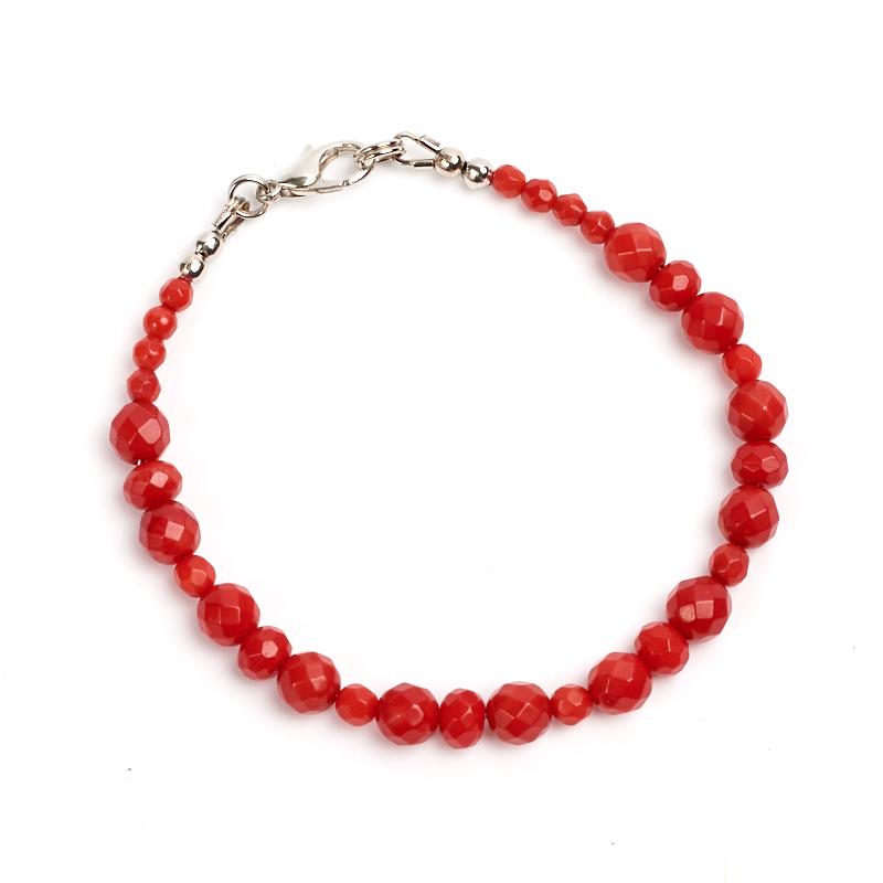 Браслет коралл красный  огранка 17 cм браслет флюорит огранка 6 мм 17 cм