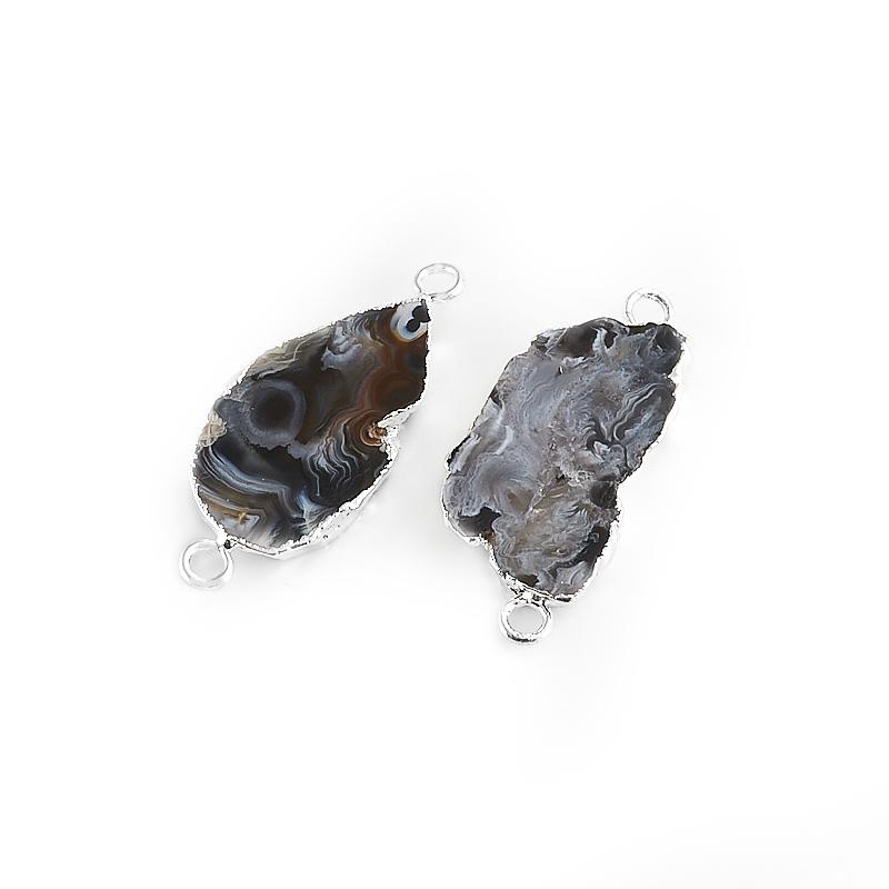 Коннектор агат серый  4 см (1 шт)