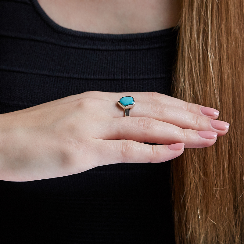 Кольцо бирюза США (серебро 925 пр.) размер 19,5