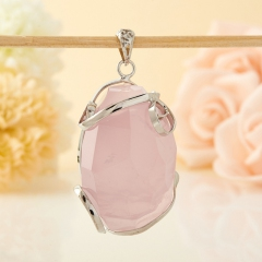 Кулон розовый кварц Бразилия огранка (биж. сплав) 4-5 см