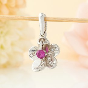 Кулон рубин Мьянма цветок огранка (серебро 925 пр.)