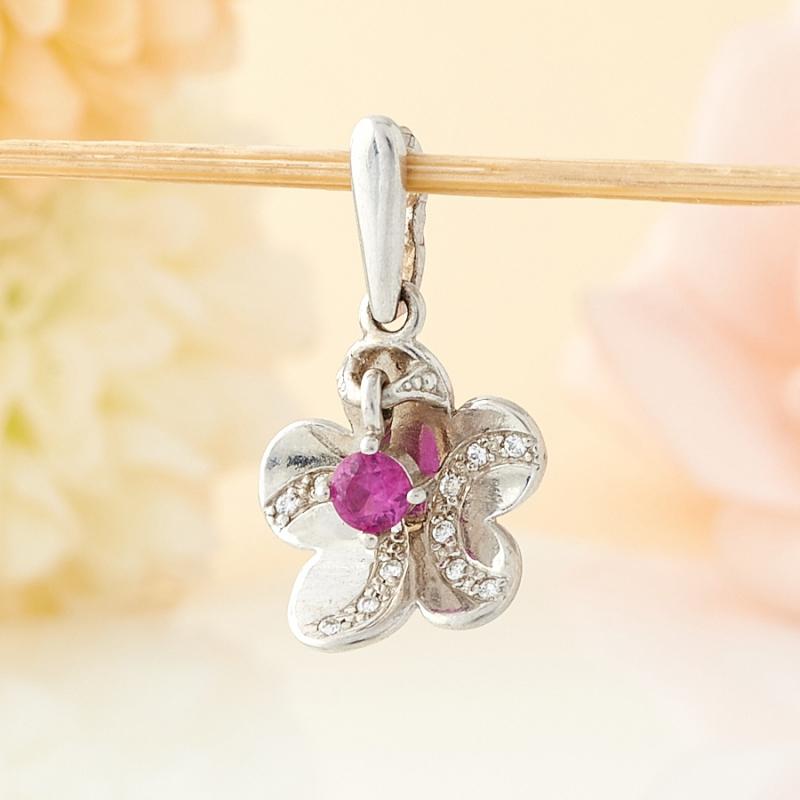 Кулон рубин  цветок огранка (серебро 925 пр.)