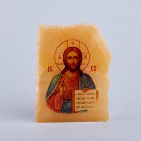 Срез с изображением Иисус Христос селенит Россия 3,5х4,5 см