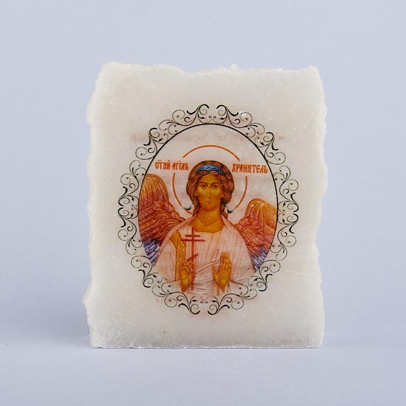 Срез с изображением Ангел Хранитель с молитвой селенит  5х5,5 см