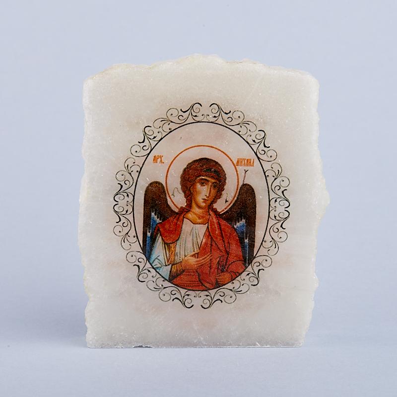 Срез с изображением Архангел Михаил с молитвой селенит  5х5,5 см