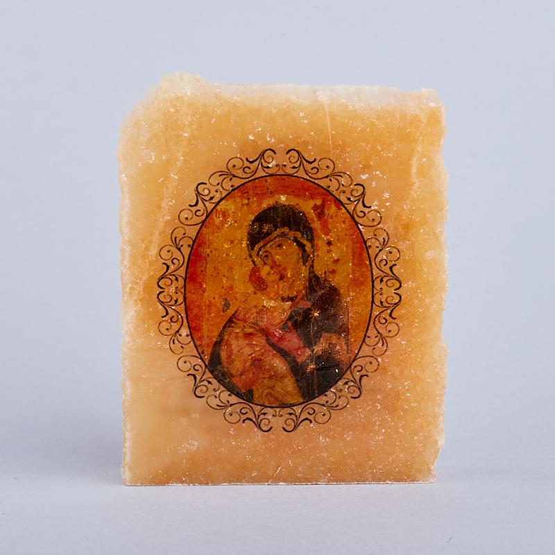 Срез с изображением Богоматерь с молитвой селенит 5х5,5 см