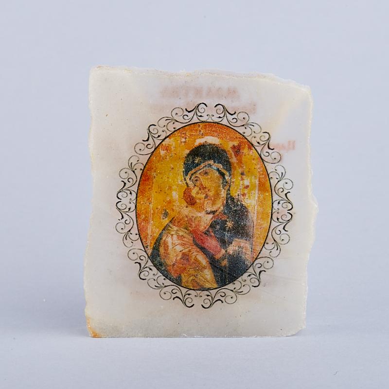 Срез с изображением Богоматерь Владимирская с молитвой селенит  5х5,5 см