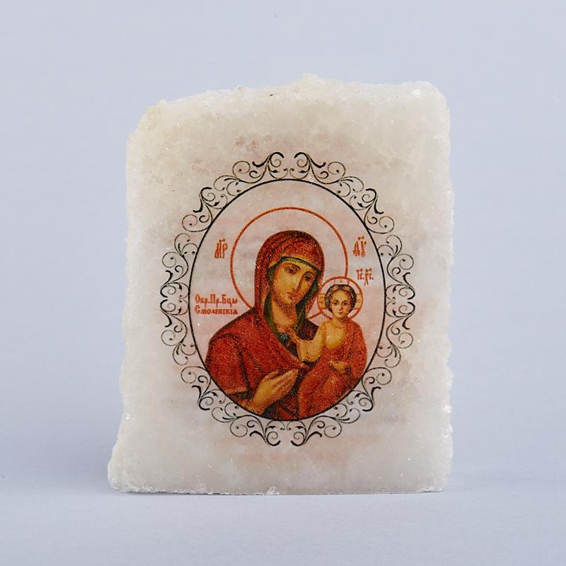 Срез с изображением Богоматерь Смоленская с молитвой селенит  5х5,5 см