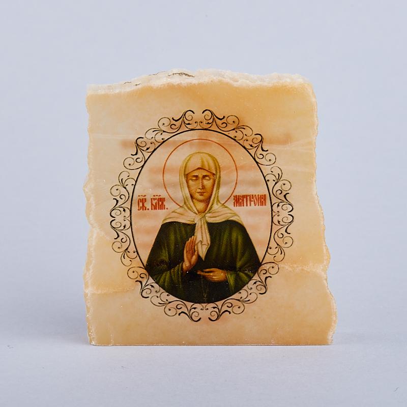 Срез с изображением Блаженная Матрона с молитвой селенит 5х5,5 см
