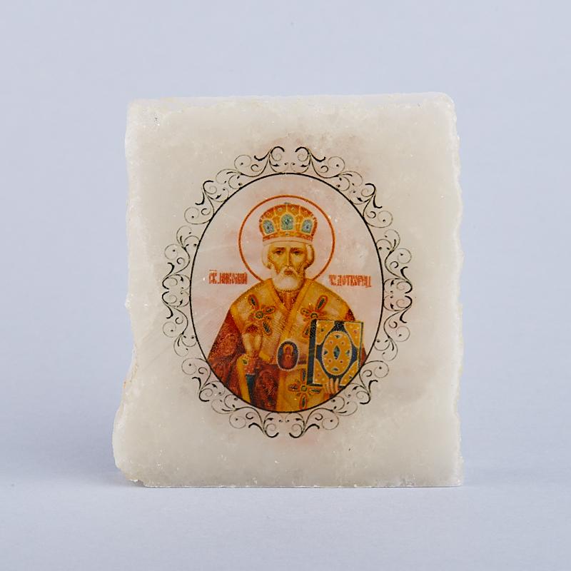 Срез с изображением Николай Чудотворец с молитвой селенит  4,5х5,5 см
