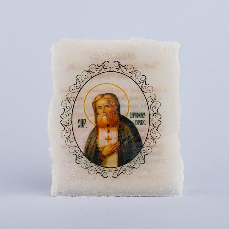 Срез с изображением Серафим Саровский селенит  4,5х5,5 см