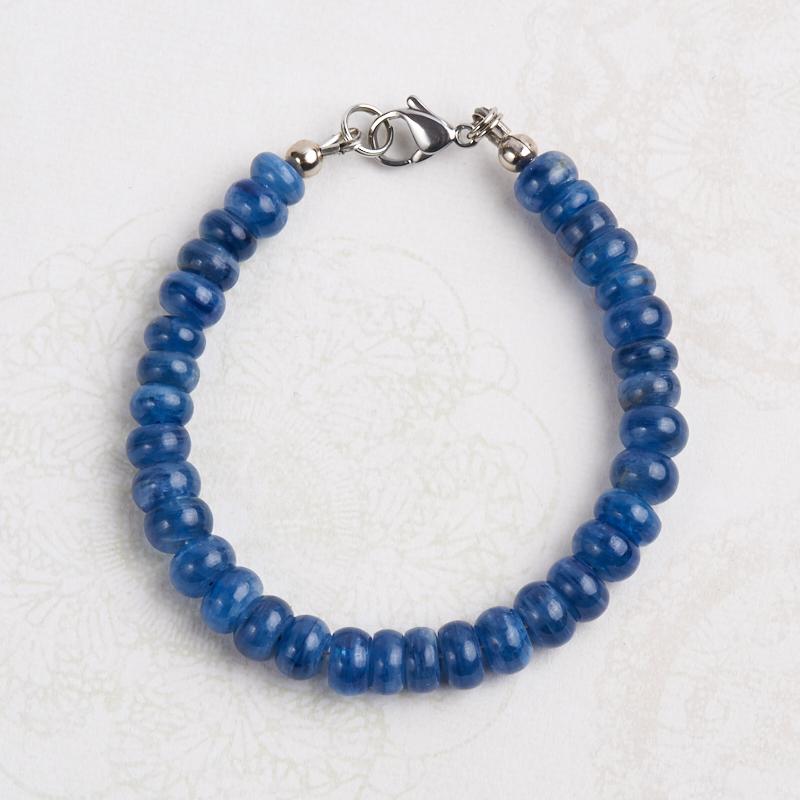 Браслет кианит синий  7 мм 16 см (хир. сталь) браслет турмалин 6 мм 16 cм хир сталь