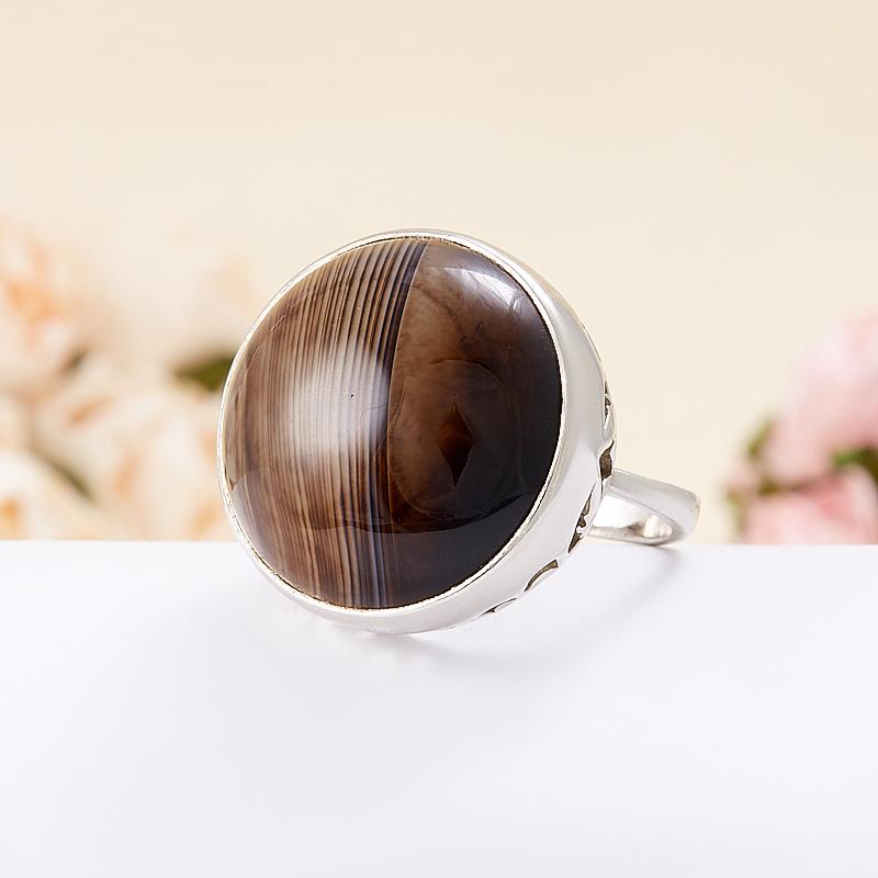 Кольцо агат коричневый  (серебро 925 пр.) размер 16,5