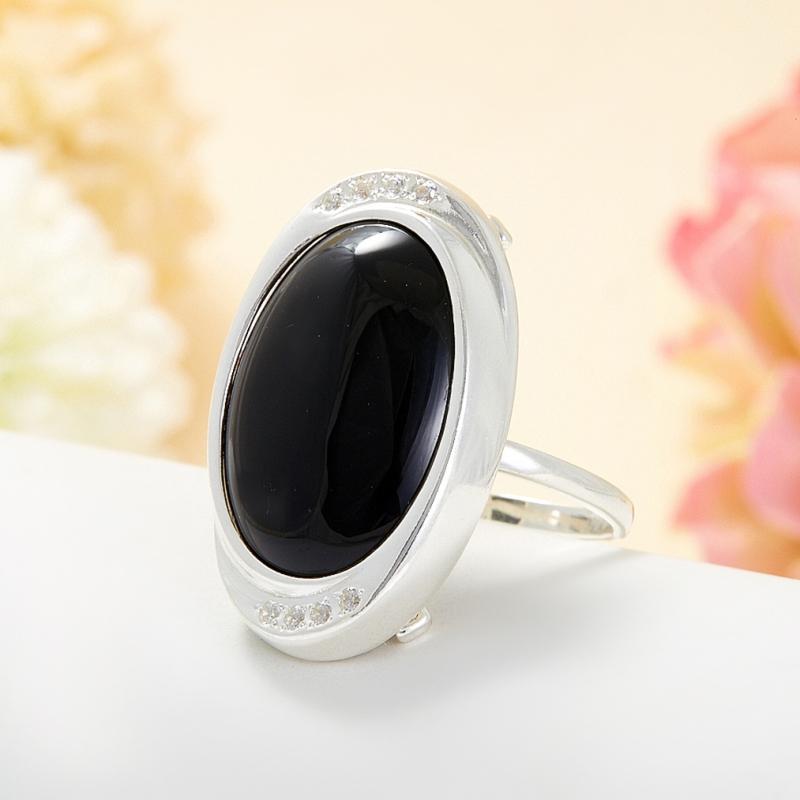 Кольцо агат черный  (серебро 925 пр.) размер 20,5