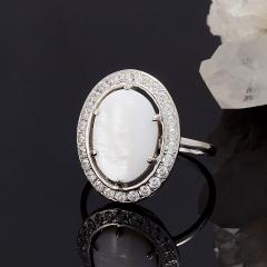 Кольцо перламутр белый Индонезия (серебро 925 пр.) размер 19