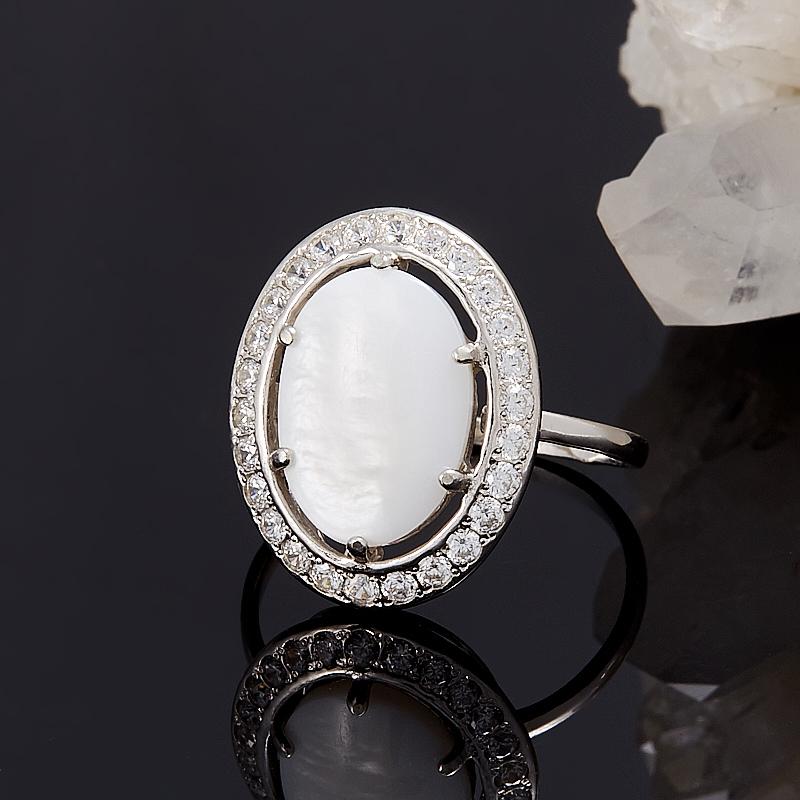 Кольцо перламутр белый  (серебро 925 пр.) размер 19 кольцо фаворитка перламутр