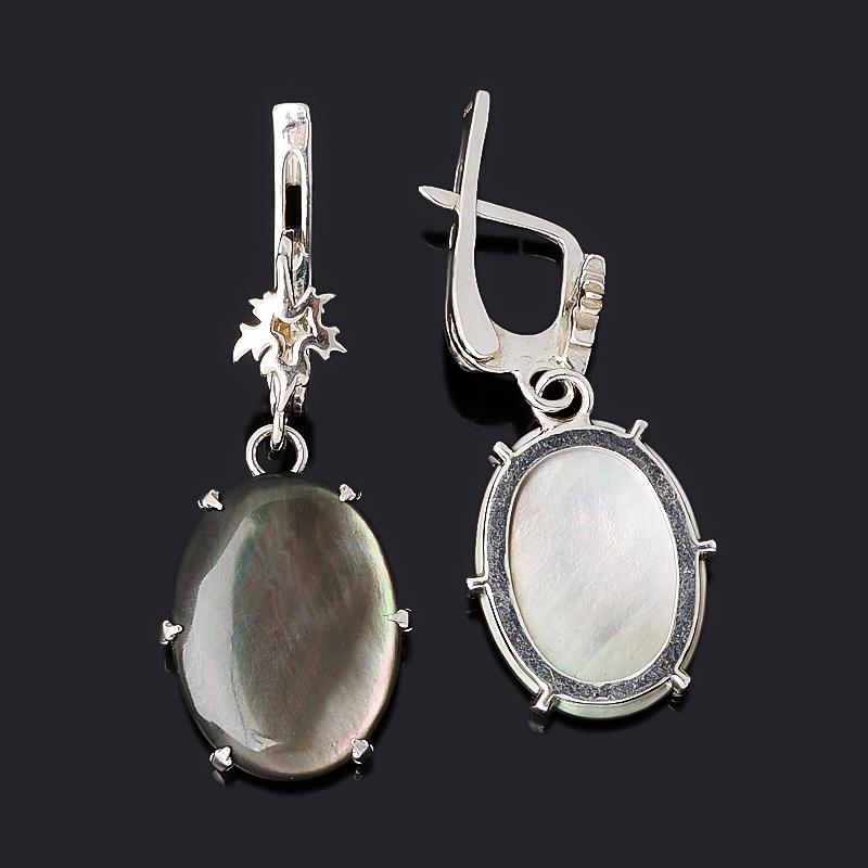Серьги перламутр серый Индонезия (серебро 925 пр.)