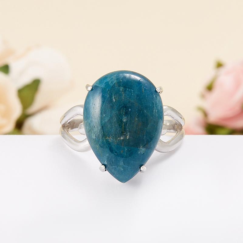 Кольцо апатит синий Бразилия (серебро 925 пр.) размер 17