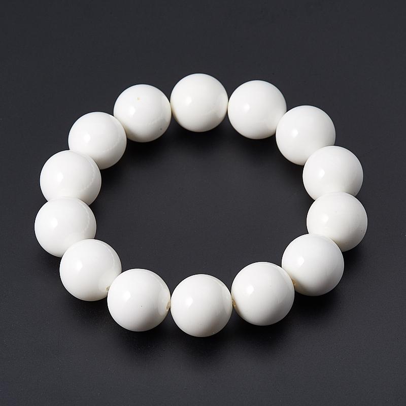 Браслет арагонит белый 14 мм 17 см браслет арагонит белый 15 см