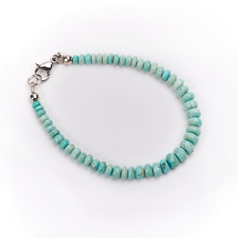 Браслет бирюза  15 см (хир. сталь) браслеты indira браслет бирюза коралл gl0143