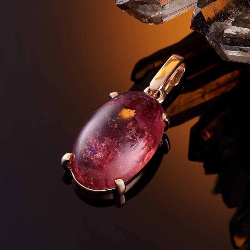 Кулон турмалин розовый (рубеллит)  овал (золото 585 пр.) кабошон турмалин розовый рубеллит 5 7 мм