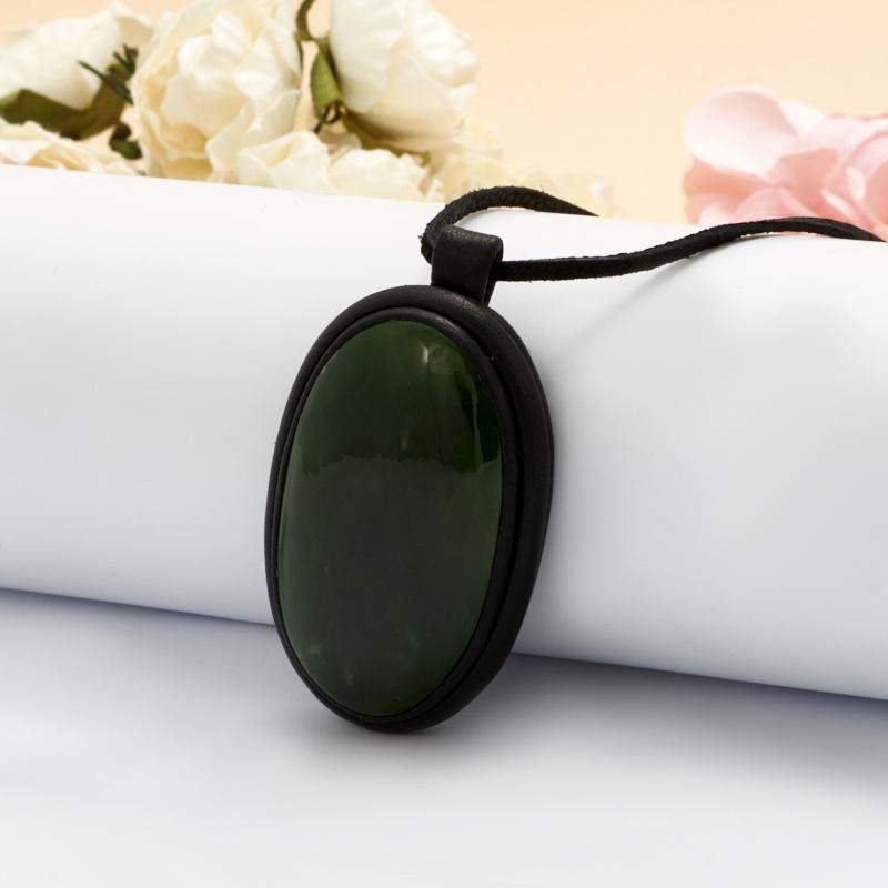 Подвеска нефрит зеленый  овал (натуральная кожа) кабошон нефрит зеленый 12 16 мм