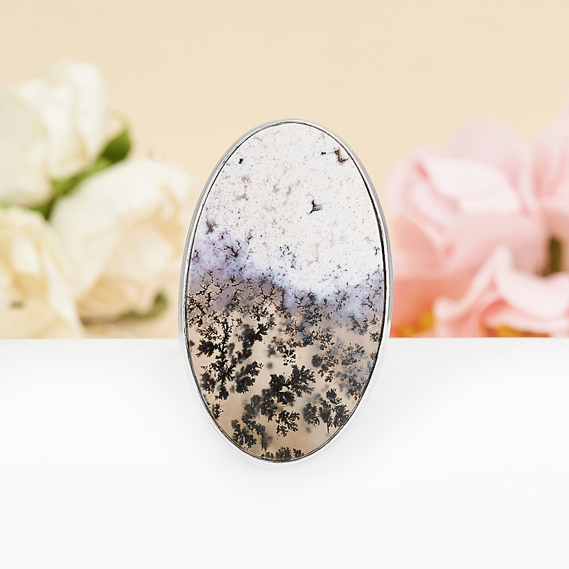 Кольцо агат пейзажный  (серебро 925 пр.) размер 17,5