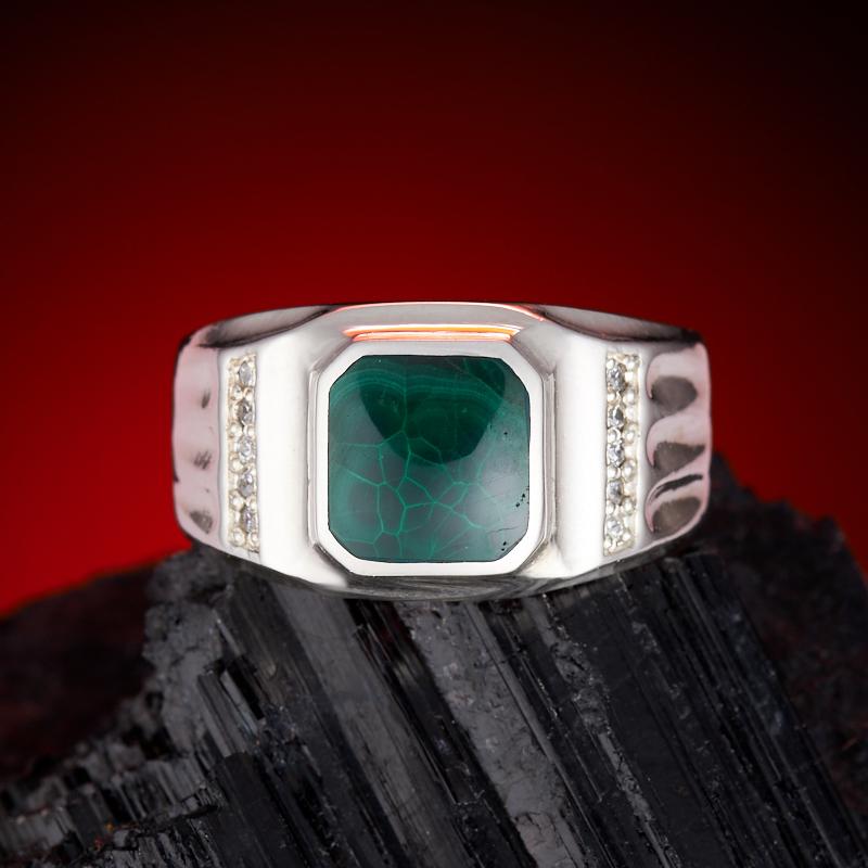 Кольцо малахит  (серебро 925 пр.) размер 21,5 кольцо авантюрин серебро 925 пр размер 21 5