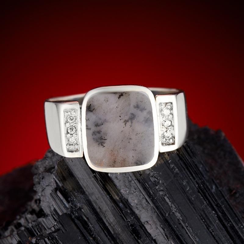 Кольцо агат пейзажный (серебро 925 пр.) размер 20,5 серьги агат серый серебро 925 пр