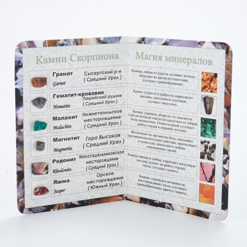 Коллекция минералов на открытке Скорпион