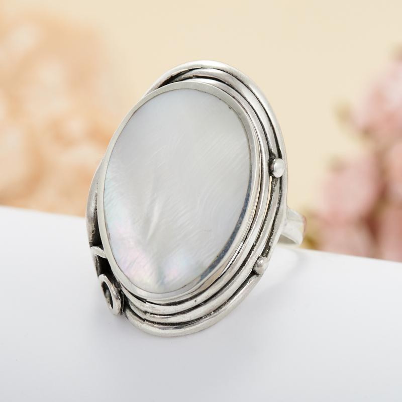Кольцо перламутр белый  (серебро 925 пр.) размер 20,5