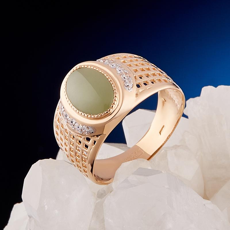 Кольцо нефрит зеленый Россия (золото 585 пр.) размер 20,5