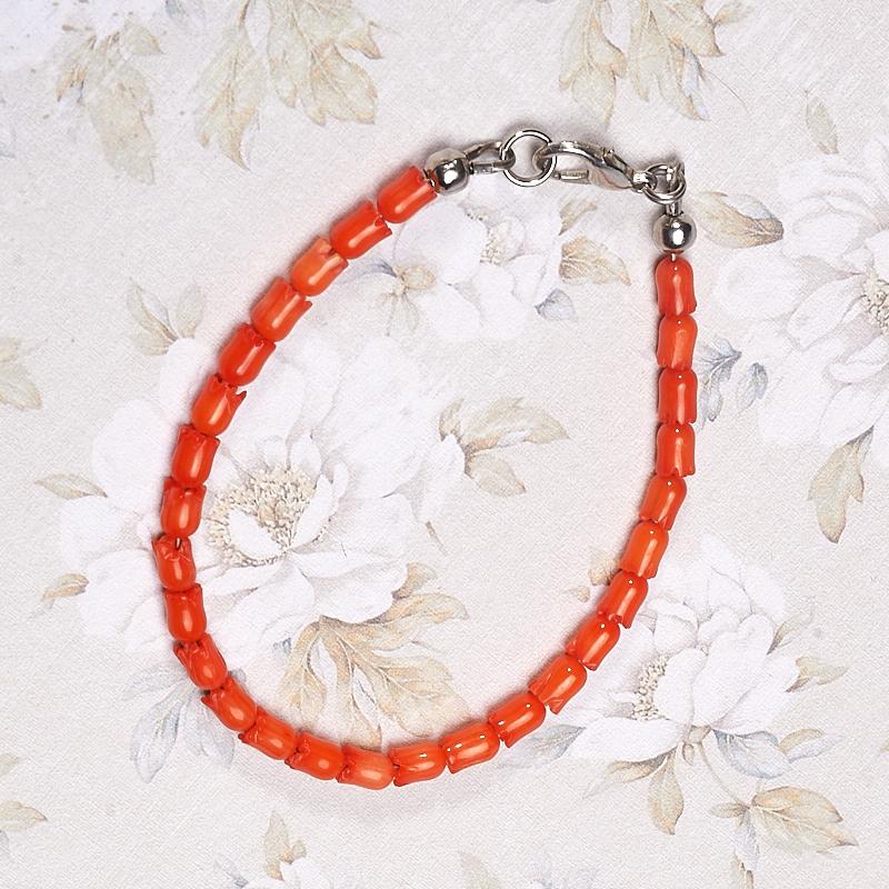 Браслет коралл оранжевый  18 см браслеты indira браслет бирюза коралл gl0143
