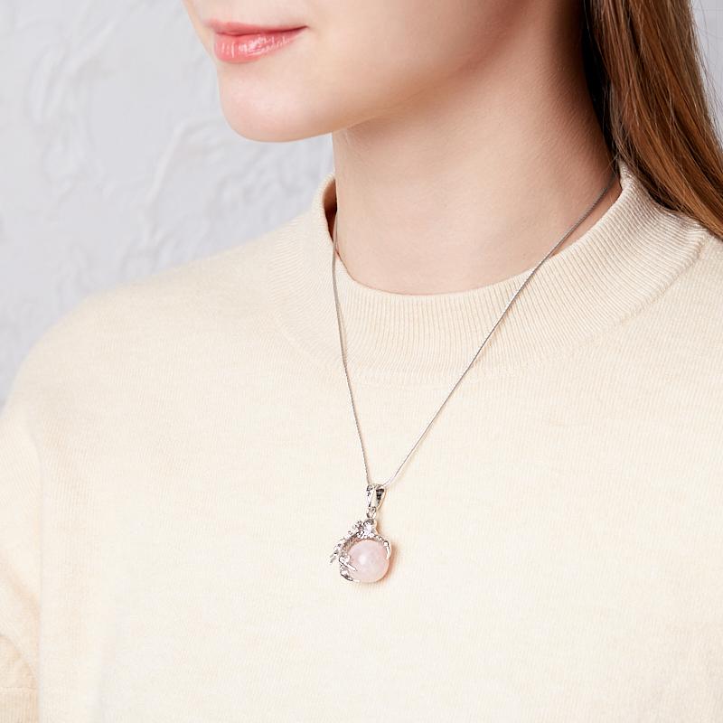 Кулон лапа орла розовый кварц Бразилия (биж. сплав) 4 см