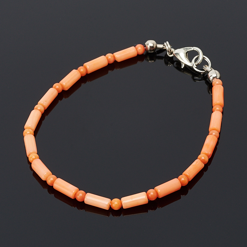 Браслет коралл оранжевый 17 см