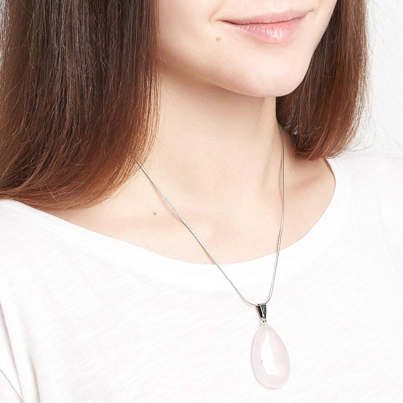 Кулон розовый кварц Намибия капля (биж. сплав) 5-5,5 см