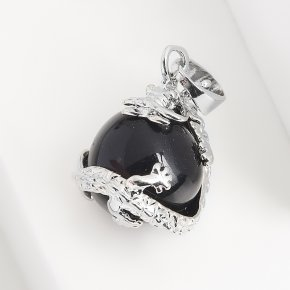 Кулон агат черный Бразилия дракон (биж. сплав) 3 см