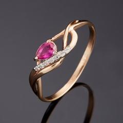 Кольцо рубин Мьянма огранка (золото 585 пр.) размер 18